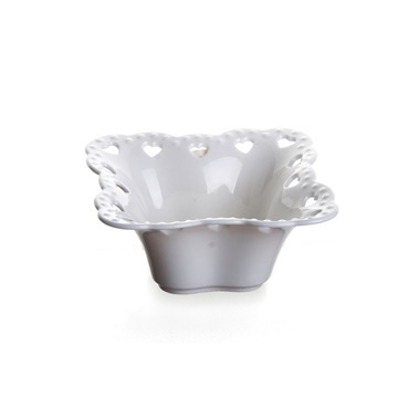 Ultraform Porselen Delikli Kare Kase 9 Cm Beyaz